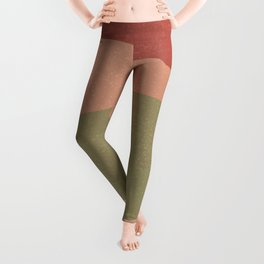 Grainy Earth-tone Waves Abstract - deep mauve, green, cream, peach Leggings