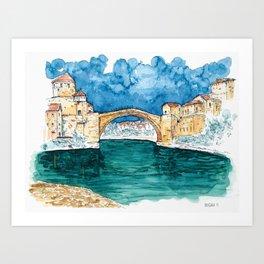 Stari Most Herzegovina Sketch Art Print