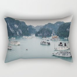 The Boats and Limestone Cliffs of Halong Bay, Vietnam Rectangular Pillow