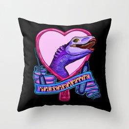 Mascaraptor Throw Pillow