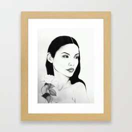 girl with flower Framed Art Print