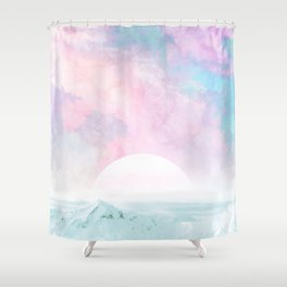 Winter Landscape on Candy Marble Sky Shower Curtain