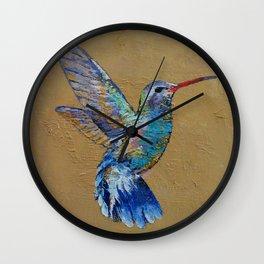 Turquoise Hummingbird Wall Clock