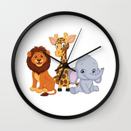 Wild About VBS Cute Animals Christian Bible Vacation Humor Cool Design Wall Clock