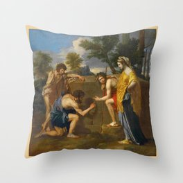 Nicolas Poussin, les bergers d'Arcadie / The Arcadian Shepherds Throw Pillow