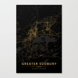 Greater Sudbury, Canada - Gold Canvas Print