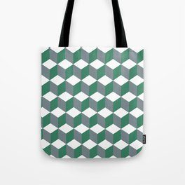 Diamond Repeating Pattern In Quetzal Green and Grey Tote Bag
