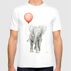 Baby Elephant Watercolor Red Balloon Nursery Decor MEDIUM Mens Fitted Tee White