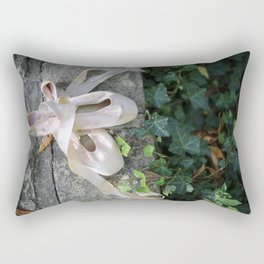 Pink Ballet Pointe Shoes on Limestone Wall with Ivy Vines 2 Rectangular Pillow