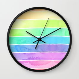 Watercolor Rainbow Stripes in Ombre Summer Pastels Wall Clock