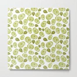 Olive Green Floral Pattern Metal Print
