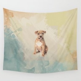 American staffordshire terrier puppy Sketch Paint Wall Tapestry