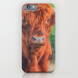 Highland cow watercolor painting #11 iPhone Case