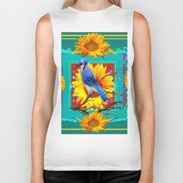 Decorative Ornate Turquoise-Blue Jay Sunflowers Biker Tank