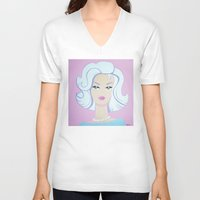 barbie V-neck T-shirts featuring Frosty Barbie by Little Bunny Sunshine