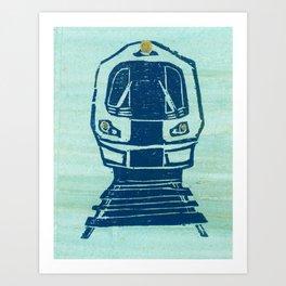 Blue train Art Print