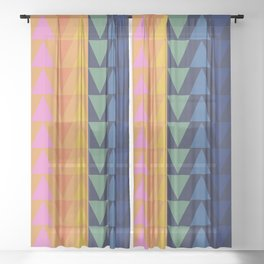 Day and Night Rainbow Triangles Sheer Curtain