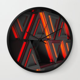Pattern of grey triangle prisms with red glowing lines Wall Clock