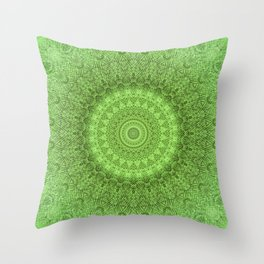 Sunflower Feather Bohemian Leaf Pattern \\ Aesthetic Vintage \\ Green Teal Aqua Color Scheme Throw Pillow
