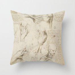 Leonardo da Vinci - Superficial Anatomy of the Shoulder Throw Pillow