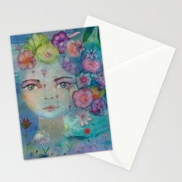 Watercolor flower girl portrait in blue Stationery Cards