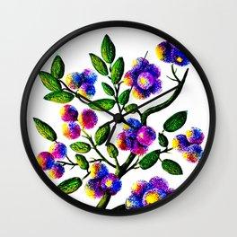 Blue Pink Yelow Flower Branch Clip Art Wall Clock