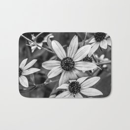 Daisies Black and White Photography Bath Mat