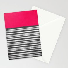 Pink Gray Stripes Stationery Cards