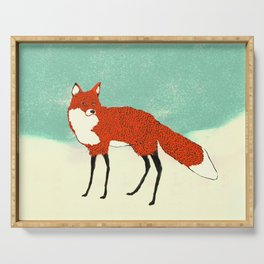 Fox in the snow, Kitsune, Vintage inspired illustration Serving Tray