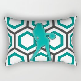 Basketball Player in Green and White Rectangular Pillow