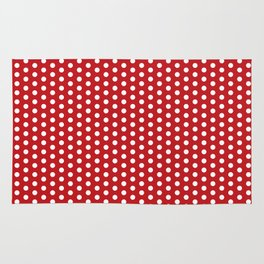 White dots in red background Rug