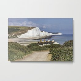 Seven Sisters country park tall white chalk cliffs, East Sussex, UK Metal Print