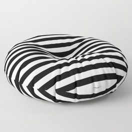 Parisienne - Black and white stripes, red hat Floor Pillow