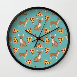 chihuahua pizza dog lover pet gifts cute pure breed chihuahuas Wall Clock