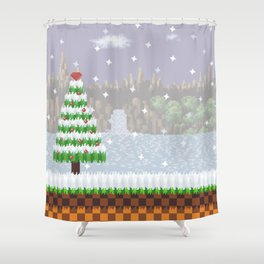 Green Hill Christmas Shower Curtain