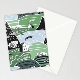 Mountain Valley Village Cute Scandinavian Homes Green Hills Seamless Pattern Stationery Cards