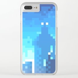 Pixel Town at Sundown - Blue Clear iPhone Case