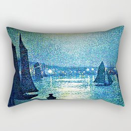 Classical Masterpiece 'Moonlight Night in Boulogne, Italy' by Theo van Rysselberghe Rectangular Pillow