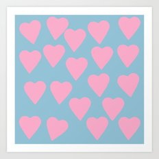 Hearts Pink on Blue Art Print