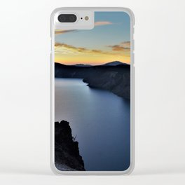 Crater Lake Bursts with Color at Sunset Clear iPhone Case