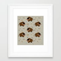 buffalo Framed Art Prints featuring Buffalo by Heleen van Buul