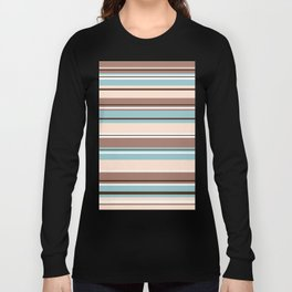 Striped Design Browns Blue Cream & White Long Sleeve T-shirt
