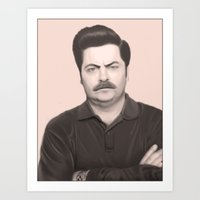 ron swanson Art Prints featuring Ron Swanson by Alexia Rose