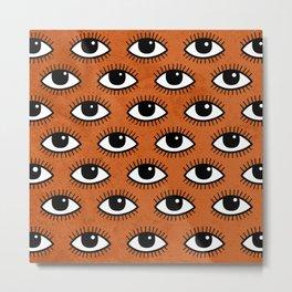 Eyes pattern on orange background Metal Print