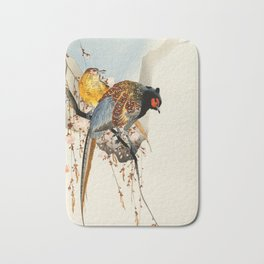 Pheasants on tree - Japanese woodblock print Bath Mat