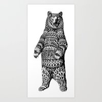 ornate Art Prints featuring Ornate Grizzly Bear by BIOWORKZ