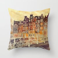 takmaj Throw Pillows featuring Amsterdam by takmaj