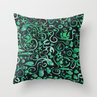 mermaids Throw Pillows featuring Mermaids by hank