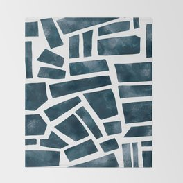 abtract indigo tile pattern Throw Blanket