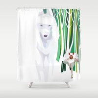 princess mononoke Shower Curtains featuring Princess Mononoke by youcoucou